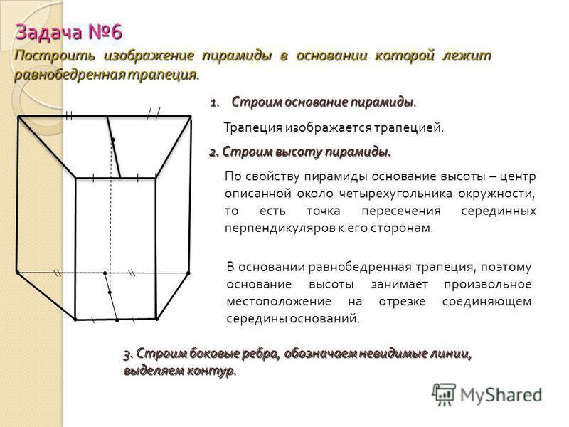 Задача 6 Построить изображение пирамиды в основании которой лежит равнобедренная трапеция. 1. Строим основание пирамиды. Трапеция изображается трапецией. 2. Строим высоту пирамиды. По свойству пирамиды основание высоты – центр описанной около четырех
