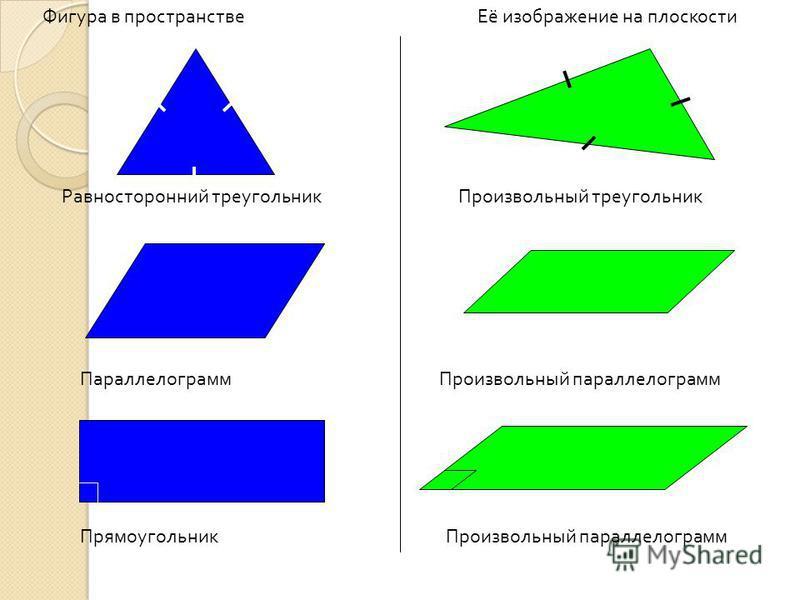 Фигура в пространстве Её изображение на плоскости Равносторонний треугольник Произвольный треугольник Параллелограмм Произвольный параллелограмм Прямоугольник Произвольный параллелограмм