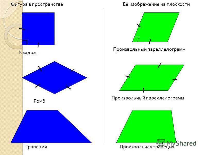 Фигура в пространстве Её изображение на плоскости Квадрат Произвольный параллелограмм Трапеция Произвольная трапеция Произвольный параллелограмм Ромб