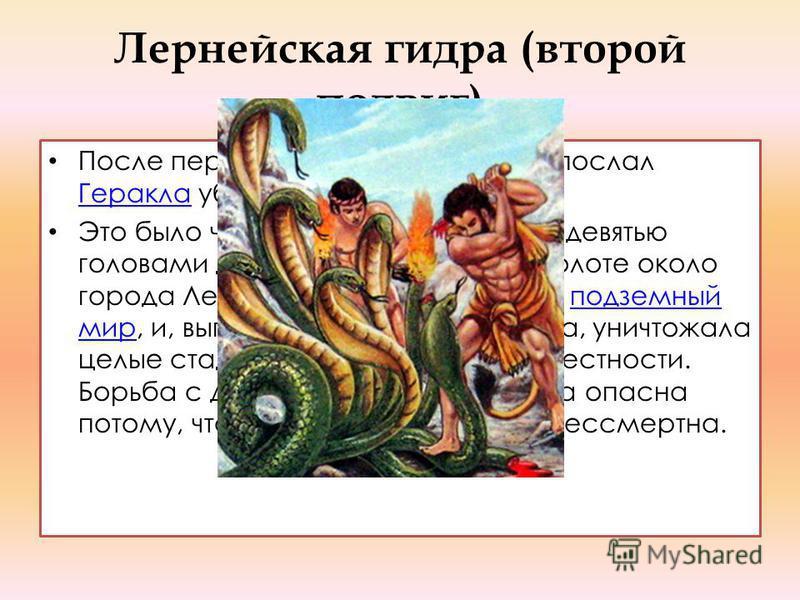 Лернейская гидра (второй подвиг) После первого подвига Эврисфей послал Геракла убить Лернейскую гидру.Эврисфей Геракла Это было чудовище с телом змеи и девятью головами дракона. Жила гидра в болоте около города Лерны, где находился вход в подземный м