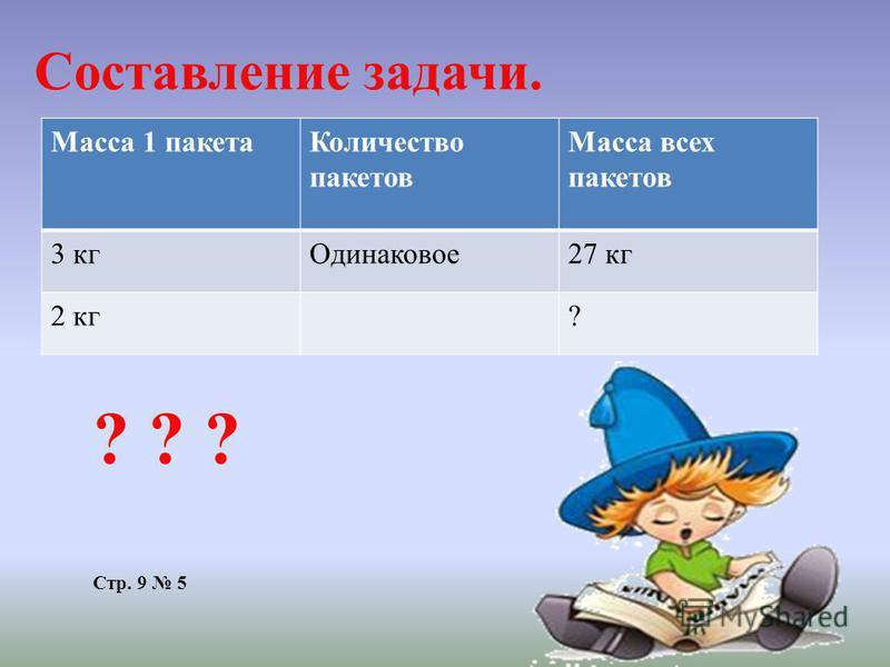 Составление задачи. Масса 1 пакета Количество пакетов Масса всех пакетов 3 кг Одинаковое 27 кг 2 кг? ? ? ? Стр. 9 5