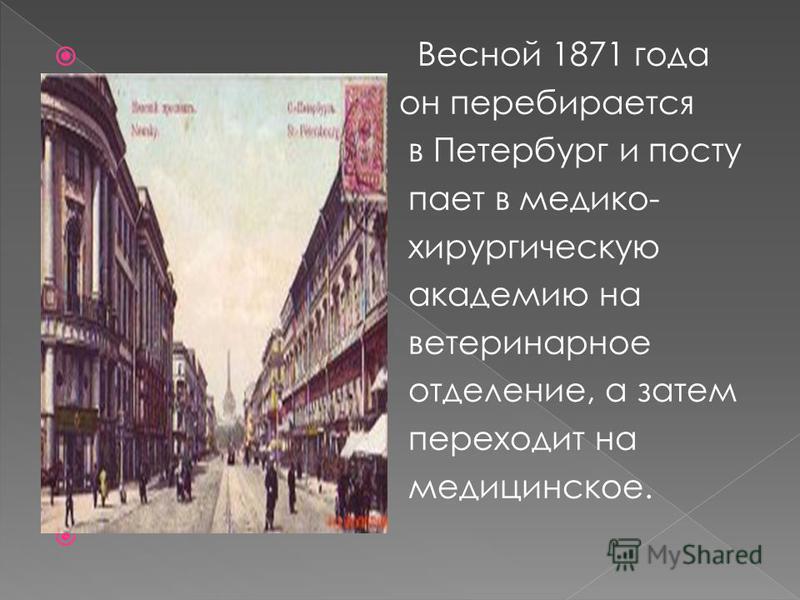Весной 1871 года он перебирается в Петербург и поступает в медико- хирургическую академию на ветеринарное отделение, а затем переходит на медицинское.