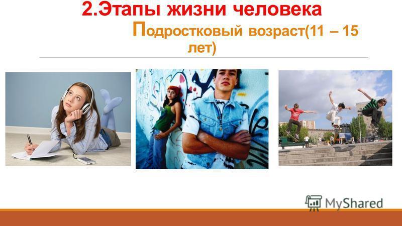 2. Этапы жизни человека П одростковый возраст(11 – 15 лет)