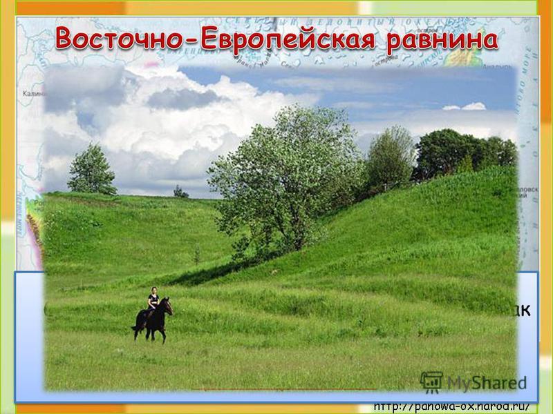 Это холмистая равнина. На карте она изображена светло-зелёным цветом. И на ней, как заплатки, пятна жёлтого цвета. Это возвышенности. Эту равнину ещё называют Русской равниной.