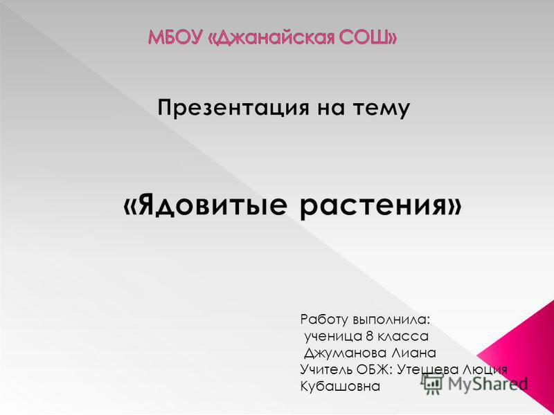 Работу выполнила: ученица 8 класса Джуманова Лиана Учитель ОБЖ: Утешева Люция Кубашовна