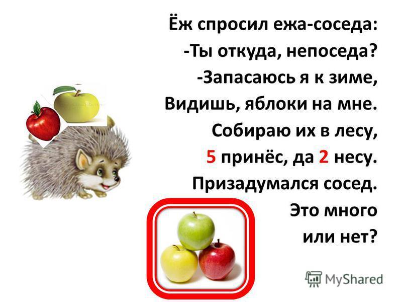 Ёж спросил ежа-соседа: -Ты откуда, непоседа? -Запасаюсь я к зиме, Видишь, яблоки на мне. Собираю их в лесу, 5 принёс, да 2 несу. Призадумался сосед. Это много или нет?
