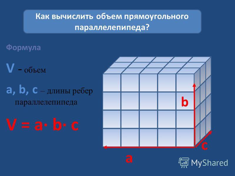 Формула V - объем a, b, c – длины ребер параллелепипеда V = a b c Как вычислить объем прямоугольного параллелепипеда? a b c