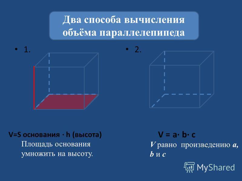 1. 2. Два способа вычисления объёма параллелепипеда Площадь основания умножить на высоту. V=S основания h (высота) V = a b c V равно произведению а, b и с