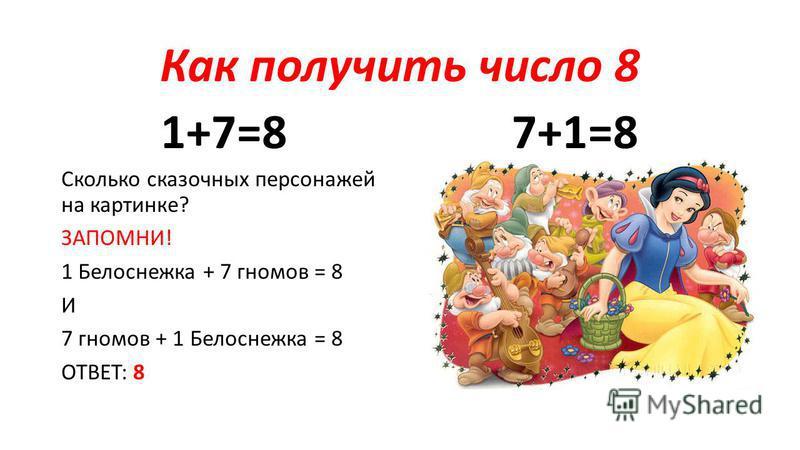 Как получить число 8 1+7=8 Сколько сказочных персонажей на картинке? ЗАПОМНИ! 1 Белоснежка + 7 гномов = 8 И 7 гномов + 1 Белоснежка = 8 ОТВЕТ: 8 7+1=8