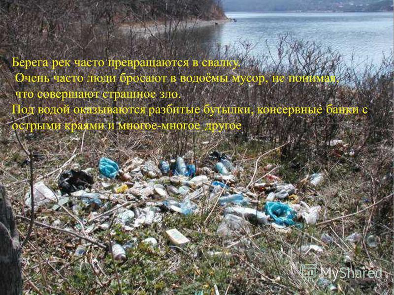 Берега рек часто превращаются в свалку. Очень часто люди бросают в водоёмы мусор, не понимая, что совершают страшное зло. Под водой оказываются разбитые бутылки, консервные банки с острыми краями и многое-многое другое