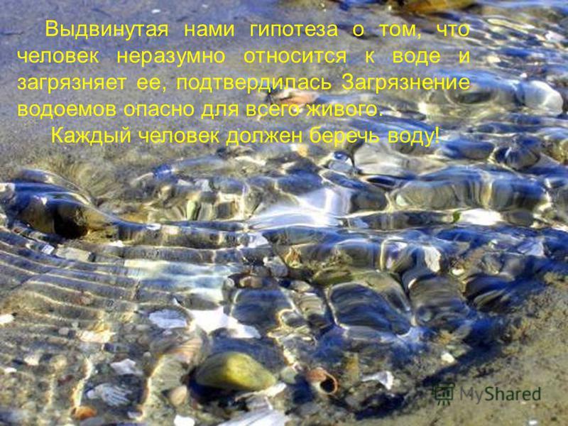 Выдвинутая нами гипотеза о том, что человек неразумно относится к воде и загрязняет ее, подтвердилась Загрязнение водоемов опасно для всего живого. Каждый человек должен беречь воду!