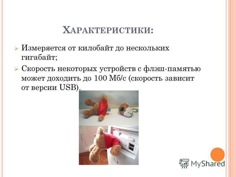 Х АРАКТЕРИСТИКИ : Измеряется от килобайт до нескольких гигабайт; Скорость некоторых устройств с флэш-памятью может доходить до 100 Мб/с (скорость зависит от версии USB).