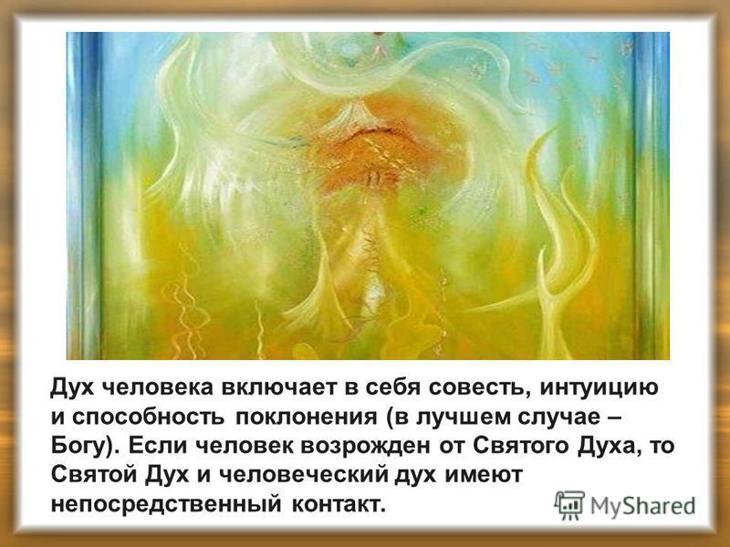 Дух человека включает в себя совесть, интуицию и способность поклонения (в лучшем случае – Богу). Если человек возрожден от Святого Духа, то Святой Дух и человеческий дух имеют непосредственный контакт.