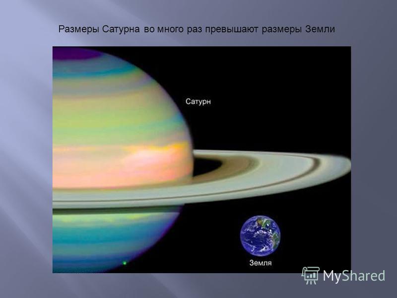 Размеры Сатурна во много раз превышают размеры Земли