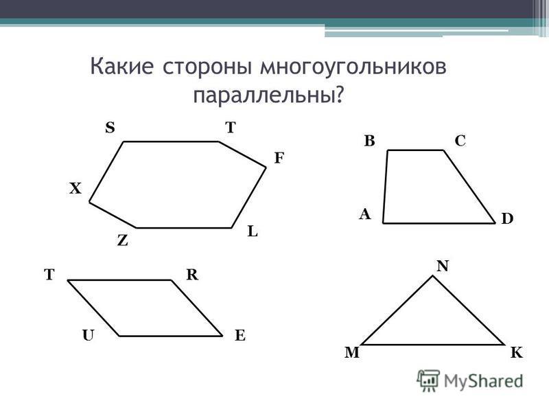 Какие стороны многоугольников параллельны? M N K UE RT D CB A ST F L Z X