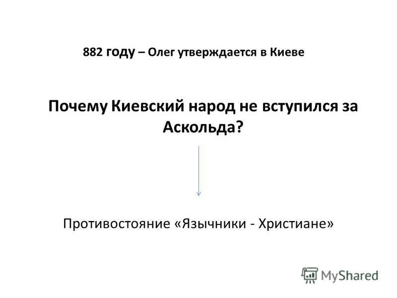 882 году – Олег утверждается в Киеве Почему Киевский народ не вступился за Аскольда? Противостояние «Язычники - Христиане»
