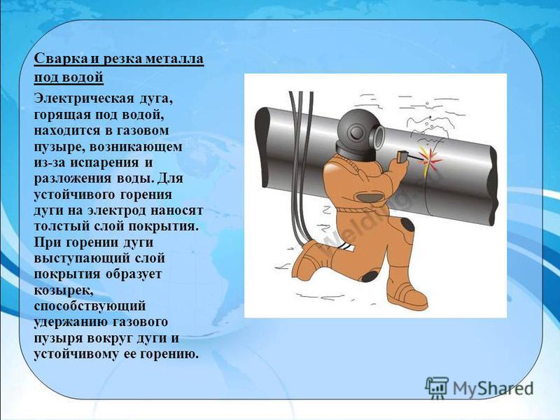 Сварка и резка металла под водой Электрическая дуга, горящая под водой, находится в газовом пузыре, возникающем из-за испарения и разложения воды. Для устойчивого горения дуги на электрод наносят толстый слой покрытия. При горении дуги выступающий сл
