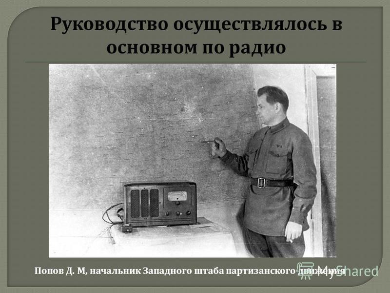 Попов Д. М, начальник Западного штаба партизанского движения