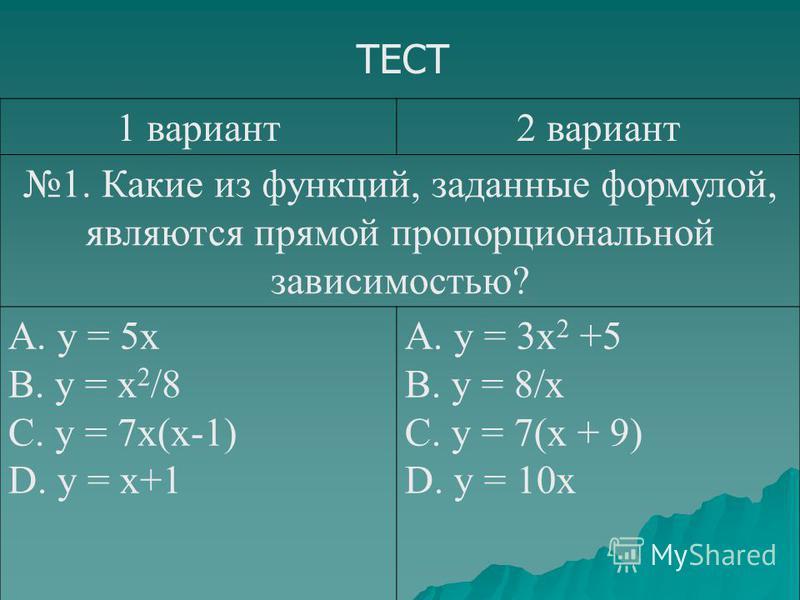 ТЕСТ 1 вариант 2 вариант 1. Какие из функций, заданные формулой, являются прямой пропорциональной зависимостью? А. y = 5x В. y = x 2 /8 C. y = 7x(x-1) D. y = x+1 A. y = 3x 2 +5 B. y = 8/x C. y = 7(x + 9) D. y = 10x