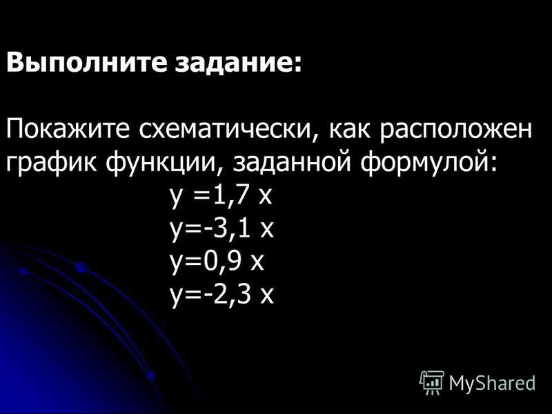 Выполните задание: Покажите схематически, как расположен график функции, заданной формулой: y =1,7 x у=-3,1 х у=0,9 х у=-2,3 х