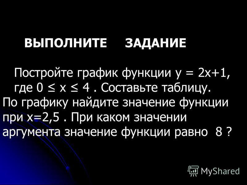 ВЫПОЛНИТЕ ЗАДАНИЕ Постройте график функции y = 2x+1, где 0 х 4. Составьте таблицу. По графику найдите значение функции при х=2,5. При каком значении аргумента значение функции равно 8 ?