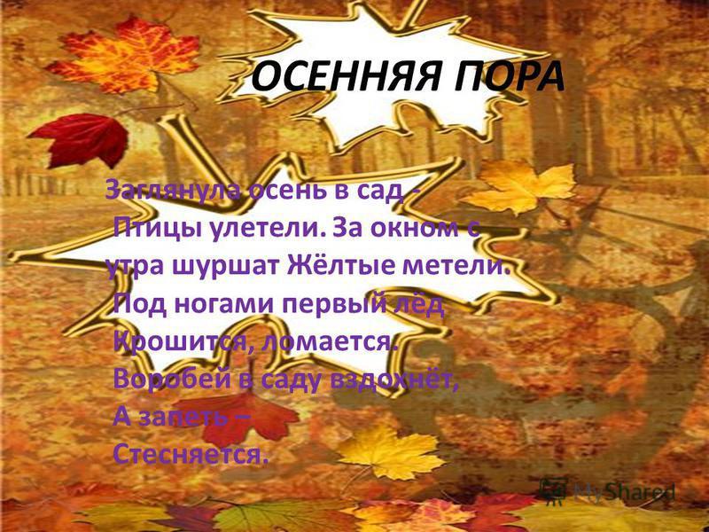 ОСЕННЯЯ ПОРА Заглянула осень в сад - Птицы улетели. За окном с утра шуршат Жёлтые метели. Под ногами первый лёд Крошится, ломается. Воробей в саду вздохнёт, А запеть – Стесняется.