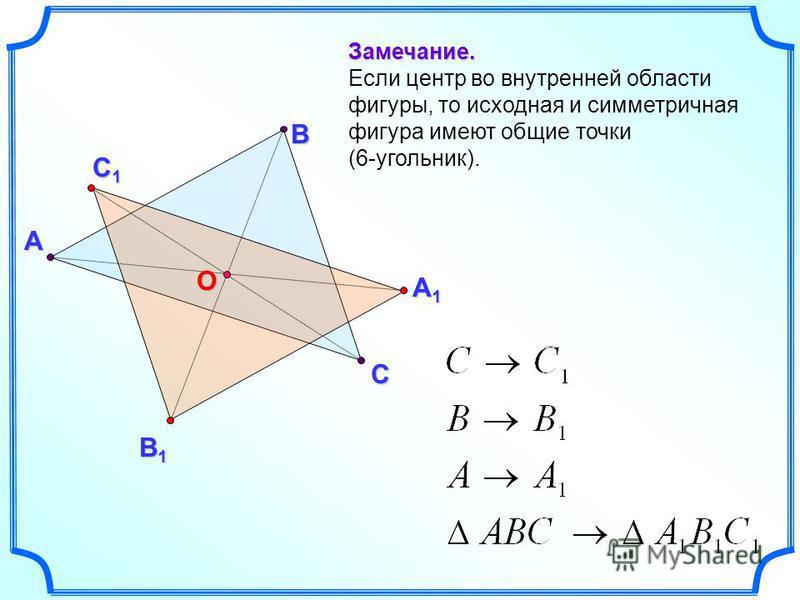 А В С Замечание. Если центр во внутренней области фигуры, то исходная и симметричная фигура имеют общие точки (6-угольник). С1С1С1С1 В1В1В1В1 А1А1А1А1 О