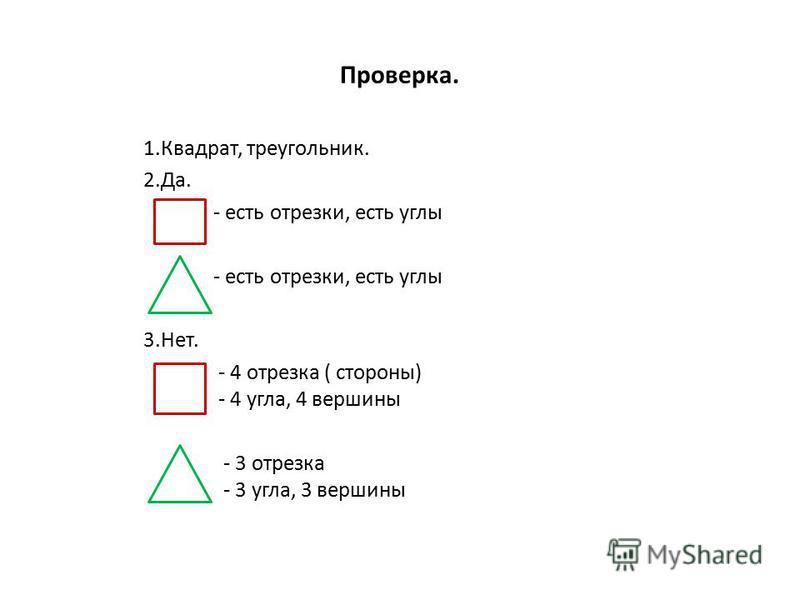 Проверка. 1.Квадрат, треугольник. 2.Да. - есть отрезки, есть углы - есть отрезки, есть углы 3.Нет. - 4 отрезка ( стороны) - 4 угла, 4 вершины - 3 отрезка - 3 угла, 3 вершины