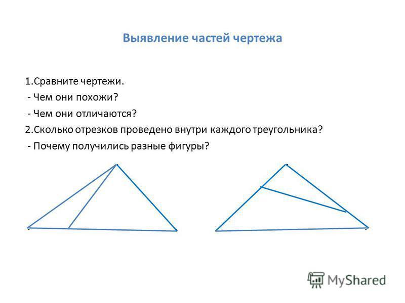 Выявление частей чертежа 1. Сравните чертежи. - Чем они похожи? - Чем они отличаются? 2. Сколько отрезков проведено внутри каждого треугольника? - Почему получились разные фигуры?.....