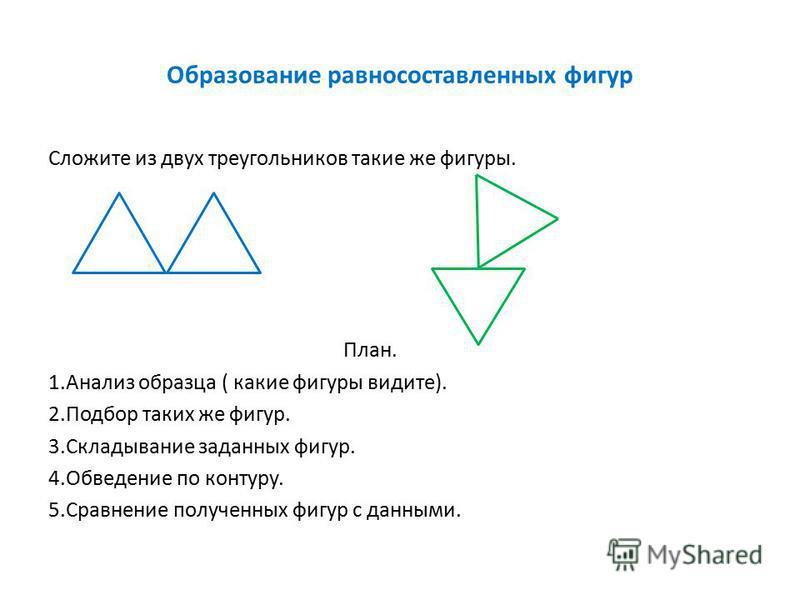 Образование равносоставленных фигур Сложите из двух треугольников такие же фигуры. План. 1. Анализ образца ( какие фигуры видите). 2. Подбор таких же фигур. 3. Складывание заданных фигур. 4. Обведение по контуру. 5. Сравнение полученных фигур с данны