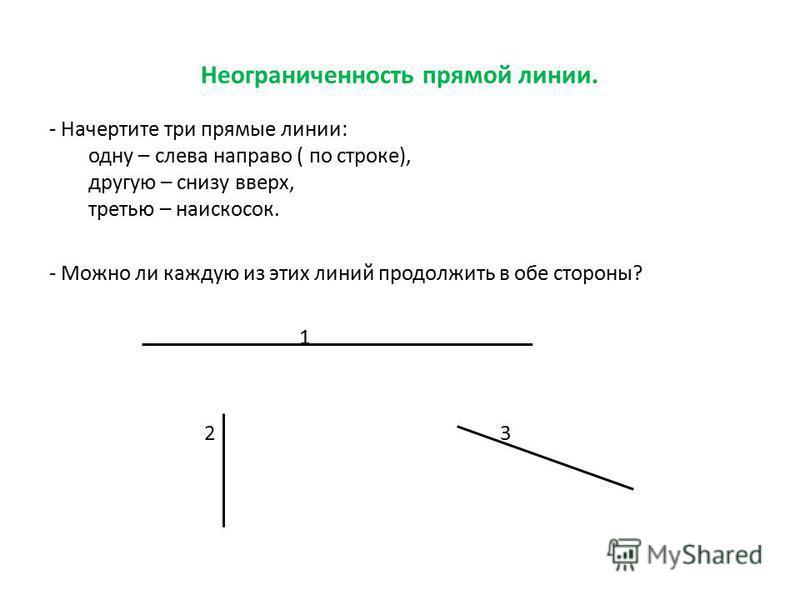Неограниченность прямой линии. - Начертите три прямые линии: одну – слева направо ( по строке), другую – снизу вверх, третью – наискосок. - Можно ли каждую из этих линий продолжить в обе стороны? 1 2 3