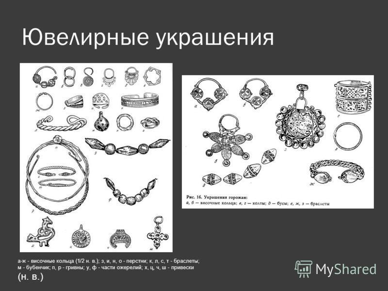 Ювелирные украшения а-ж - височные кольца (1/2 н. в.); з, и, н, о - перстни; к, л, с, т - браслеты; м - бубенчик; п, р - гривны; у, ф - части ожерелий; х, ц, ч, ш - привески (н. в.)