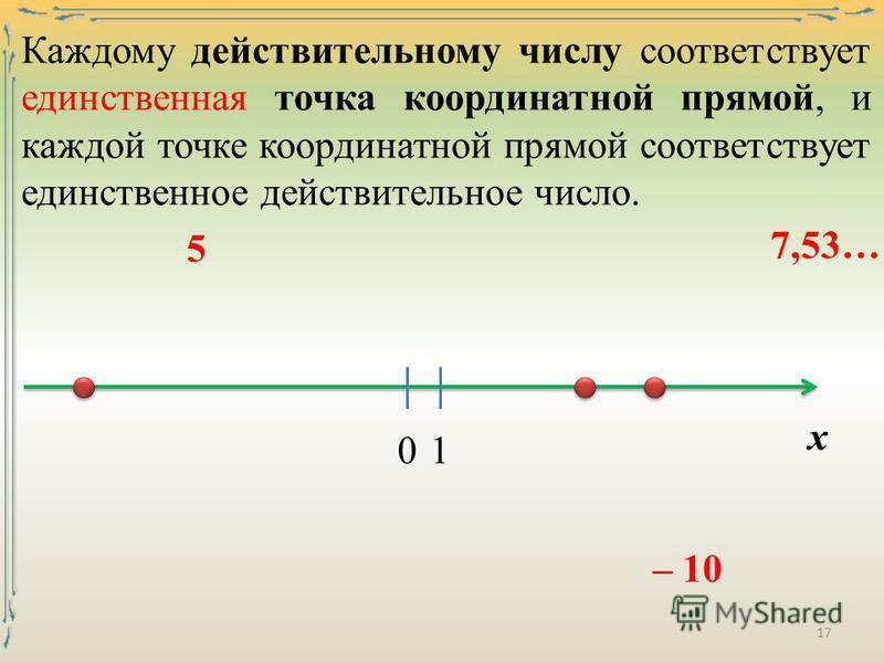Каждому действительному числу соответствует единственная точка координатной прямой, и каждой точке координатной прямой соответствует единственное действительное число. х 5 01 – 10 7,53… 17