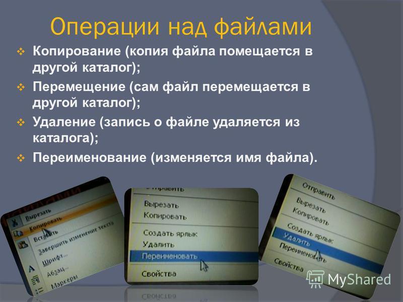 Операции над файлами Копирование (копия файла помещается в другой каталог); Перемещение (сам файл перемещается в другой каталог); Удаление (запись о файле удаляется из каталога); Переименование (изменяется имя файла).