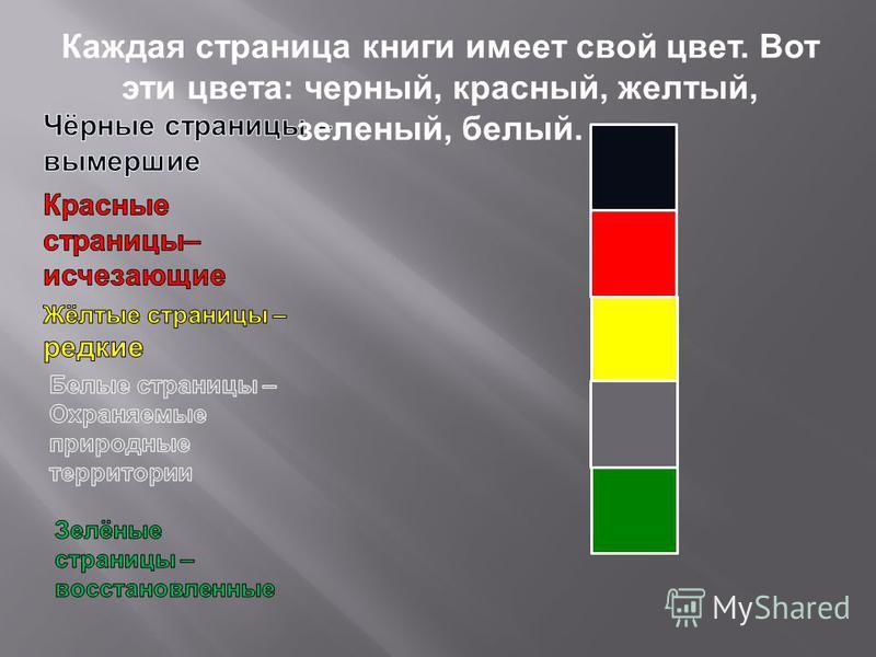 Каждая страница книги имеет свой цвет. Вот эти цвета : черный, красный, желтый, зеленый, белый.
