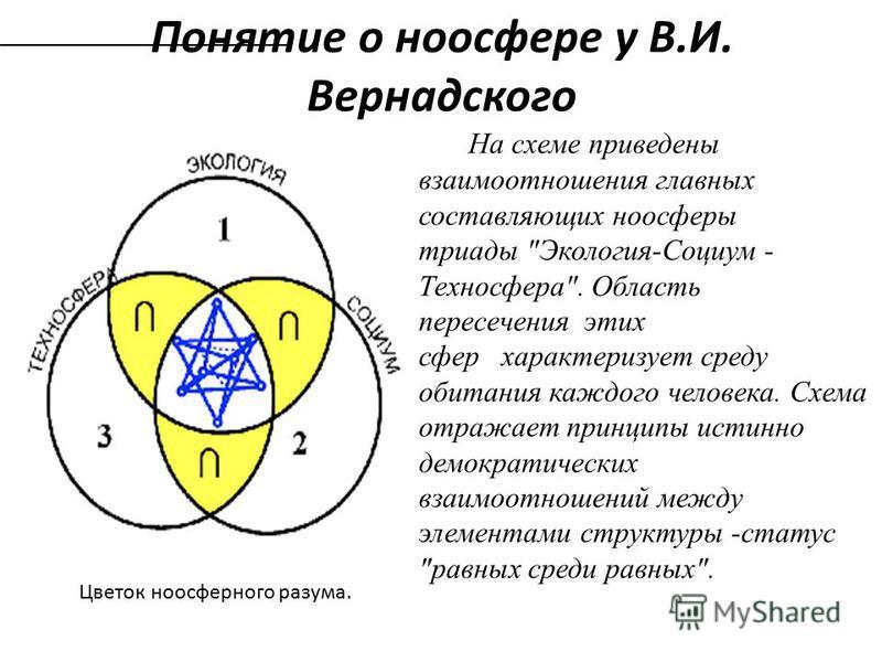 Понятие о ноосфере у В.И. Вернадского Цветок ноосферного разума. На схеме приведены взаимоотношения главных составляющих ноосферы триады