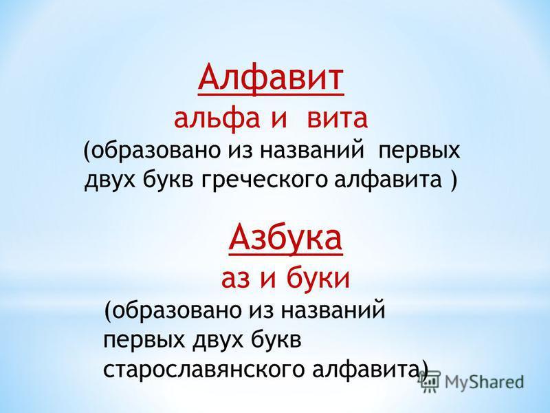 Алфавит альфа и вита (образовано из названий первых двух букв греческого алфавита ) Азбука аз и буки (образовано из названий первых двух букв старославянского алфавита)