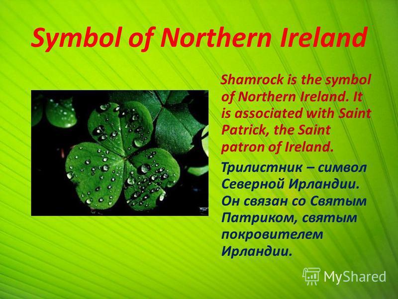 Symbol of Northern Ireland Shamrock is the symbol of Northern Ireland. It is associated with Saint Patrick, the Saint patron of Ireland. Трилистник – символ Северной Ирландии. Он связан со Святым Патриком, святым покровителем Ирландии.