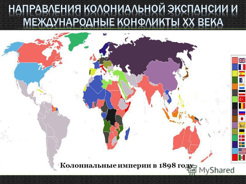 Страна Основные направления экспансии Участие в войнах, конфликтах СШАЮго-Восточная Азия, (Филиппины)Испано-американская война 1899 года Англия Афганистан, Юго-Восточная Азия(Сиам), Китай, Тибет, Персия, Южная Африка Англо-бурская война 1899-1902 гг.