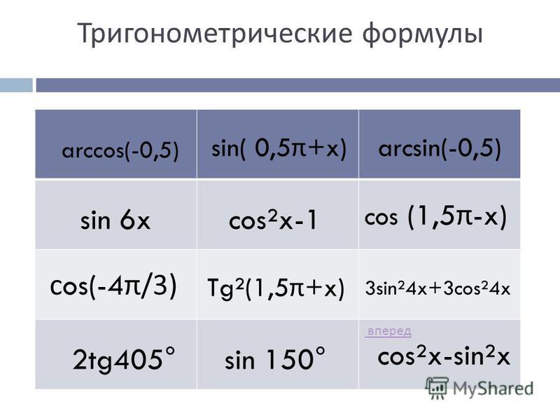 вперед Тригонометрические формулы arccos(-0,5) sin 6x sin( 0,5 π +x) cos²x-sin²x sin 150° cos (1,5 π -x) 2tg405° arcsin(-0,5) cos²x-1 с os(-4 π /3) Tg²(1,5 π +x) 3sin²4x+3cos²4x