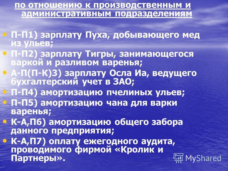 по отношению к производственным и административным подразделениям П-П1) зарплату Пуха, добывающего мед из ульев; П-П2) зарплату Тигры, занимающегося варкой и разливом варенья; А-П(П-К)3) зарплату Осла Иа, ведущего бухгалтерский учет в ЗАО; П-П4) амор