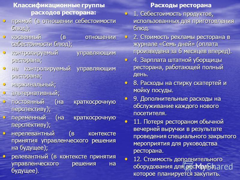 Классификационные группы расходов ресторана: прямой (в отношении себестоимости блюд); прямой (в отношении себестоимости блюд); косвенный (в отношении себестоимости блюд); косвенный (в отношении себестоимости блюд); контролируемый управляющим ресторан
