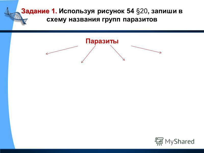 Задание 1. Задание 1. Используя рисунок 54 §20, запиши в схему названия групп паразитов Паразиты
