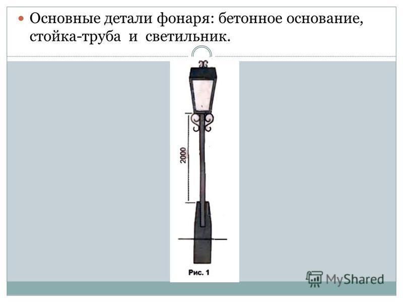Основные детали фонаря: бетонное основание, стойка-труба и светильник.