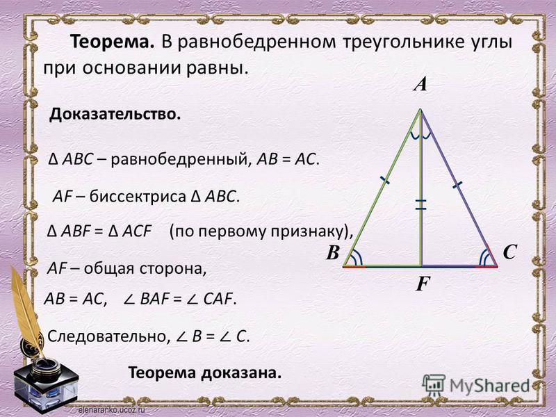 Теорема. В равнобедренном треугольнике углы при основании равны. Доказательство. А В С АВС – равнобедренный, АВ = АС. AF – биссектриса АВС. F AВ = АС, ВAF = СAF. Теорема доказана. АВF = АСF (по первому признаку), AF – общая сторона, Следовательно, В