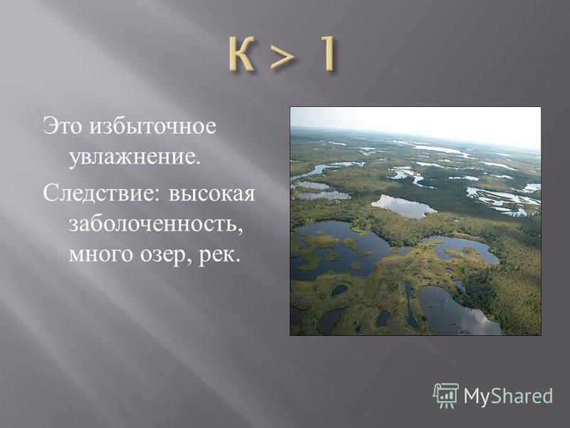 Это избыточное увлажнение. Следствие : высокая заболоченность, много озер, рек.