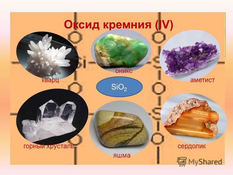 SiO 2 агат SiO 2 Оксид кремния (IV) кварц горный хрусталь оникс аметист яшма сердолик