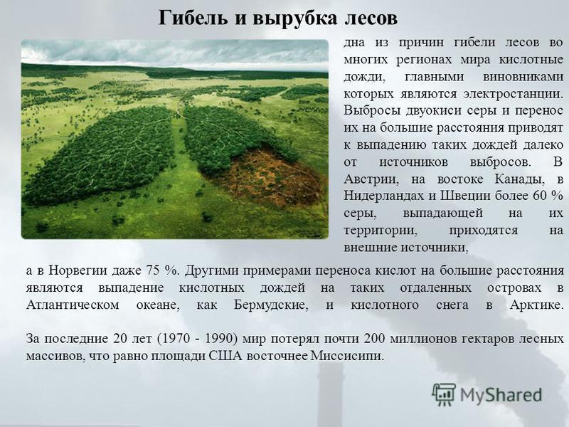 Гибель и вырубка лесов дна из причин гибели лесов во многих регионах мира кислотные дожди, главными виновниками которых являются электростанции. Выбросы двуокиси серы и перенос их на большие расстояния приводят к выпадпению таких дождей далеко от ист