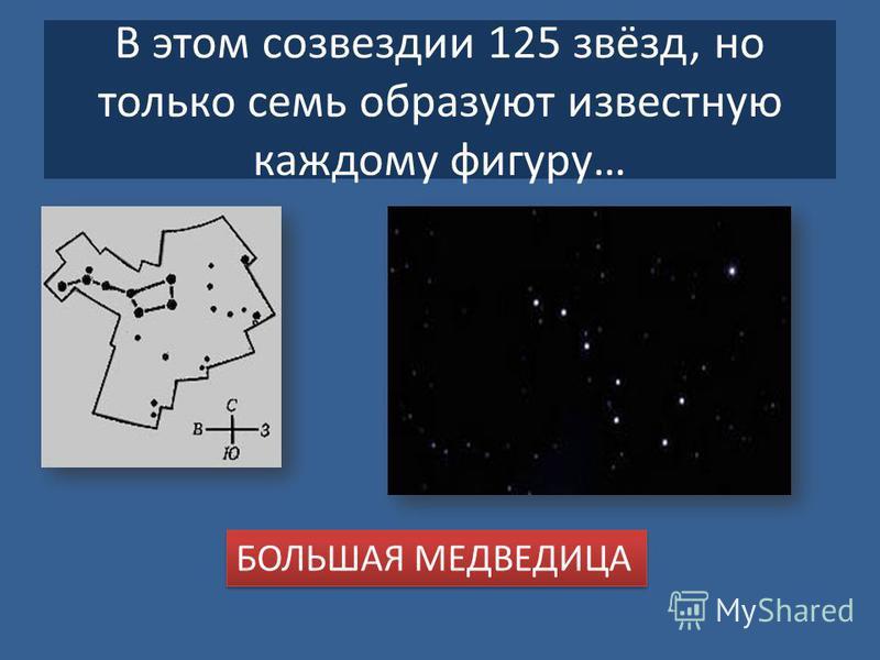 В этом созвездии 125 звёзд, но только семь образуют известную каждому фигуру… БОЛЬШАЯ МЕДВЕДИЦА
