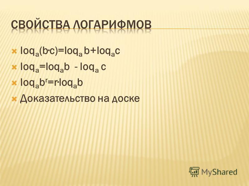 loq a (bc)=loq a b+loq a c loq a =loq a b - loq a c loq a b r =rloq a b Доказательство на доске